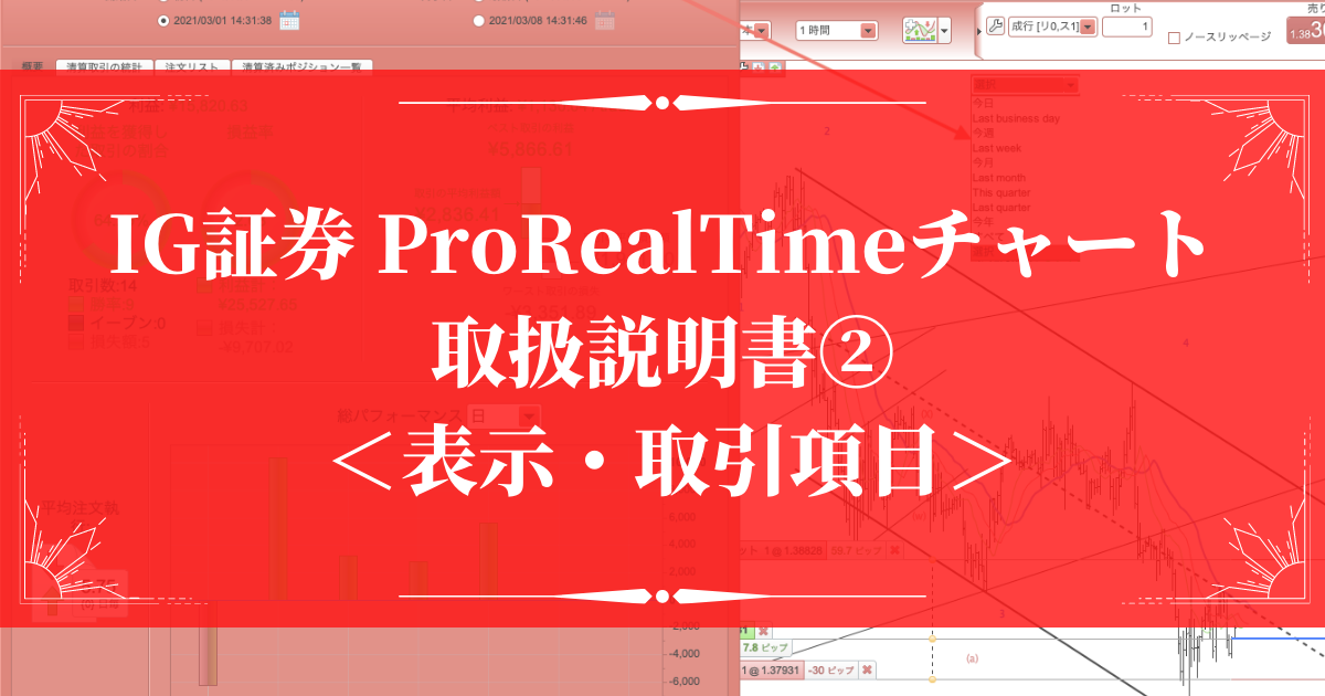 IG証券のProRealTimeチャートを使いこなすための取扱説明書② <表示・取引項目>